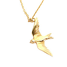 Buy Alex Monroe Flying Swallow Pendant Necklace, Gold Online at johnlewis.com