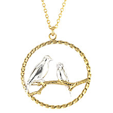 Buy Alex Monroe Lovebirds In Loop Pendant Necklace, Gold/Silver Online at johnlewis.com