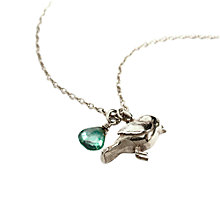 Buy Alex Monroe Warbler Bird Pendant Necklace, Silver Online at johnlewis.com