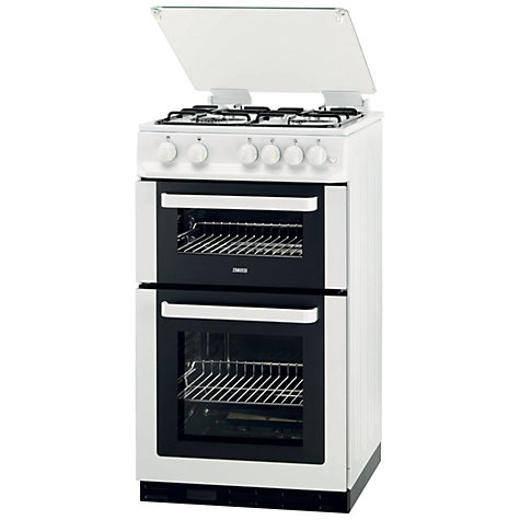 Buy Zanussi ZCG563FW Double Oven Gas Cooker, White Online at johnlewis.com
