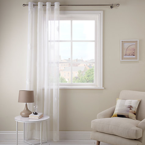 Buy John Lewis Daisy Voile Slot Headed Panel, White Online at johnlewis.com