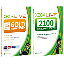 Buy Xbox Live 12 Month Membership with 2100 Live Points Online at johnlewis.com