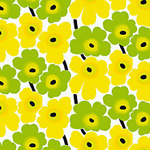 Buy Marimekko Pieni Unikko Lemon Wallpaper, Yellow/Green, 14162 Online at johnlewis.com