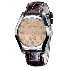 Buy Emporio Armani AR0645 Valente Men's Leather Strap Watch, Brown Online at johnlewis.com
