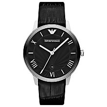 Buy Emporio Armani AR1611 Dino Men's Leather Strap Watch, Black Online at johnlewis.com