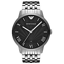 Buy Emporio Armani AR1614 Dino Men's Black Dial Bracelet Watch, Silver/Black Online at johnlewis.com