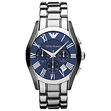 Buy Emporio Armani AR1635 Valente Men's Blue Dial Chronograph Bracelet Watch, Silver/Blue Online at johnlewis.com