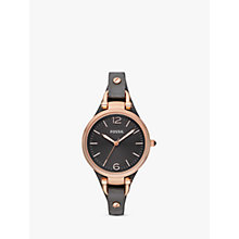 Buy Fossil ES3077 Georgia Women's Leather Strap Watch, Rose Gold/Grey Online at johnlewis.com