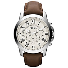 Buy Fossil FS4735 Grant Men's Chronograph Leather Strap Watch, Brown Online at johnlewis.com