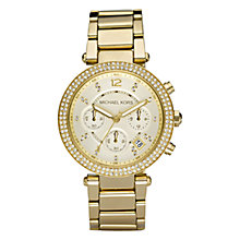 Buy Michael Kors MK5354 Women's Glitz Top Chronograph Stainless Steel Bracelet Watch, Yellow Gold Online at johnlewis.com