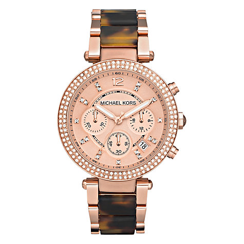 Buy Michael Kors MK5538 Parker Women's Chronograph Diamond Set Bezel Bracelet Watch, Rose Gold/Tortoise Online at johnlewis.com
