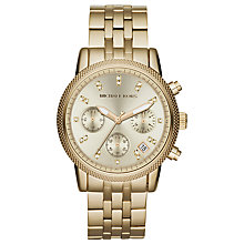 Buy Michael Kors MK5676 Women's Chronograph Diamond Set Dial Bracelet Watch, Gold Online at johnlewis.com