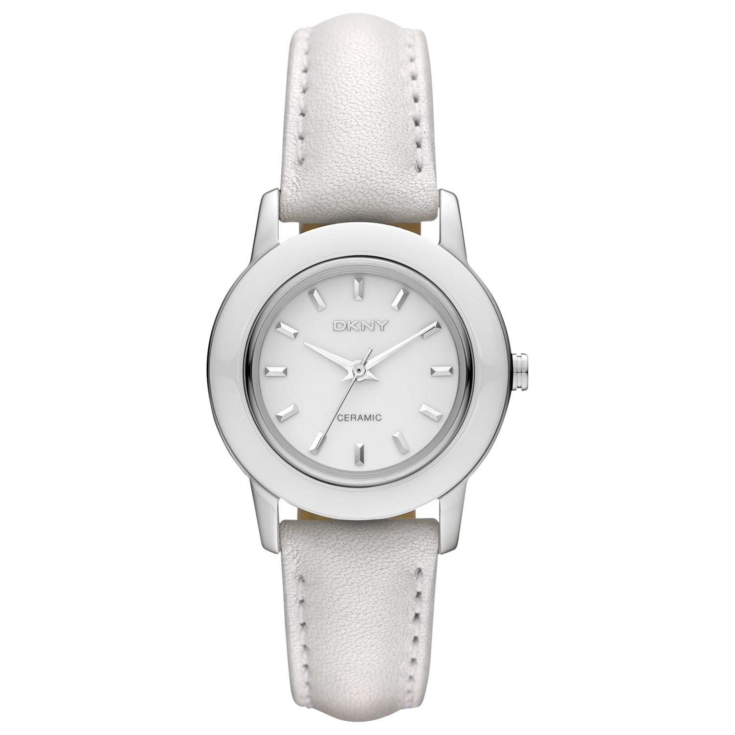 DKNY NY8638 Women's White Dial Leather Strap Watch, White