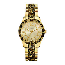 Buy Guess W0014L2 Goddess Women's Bracelet Watch, Gold/Animal Print Online at johnlewis.com