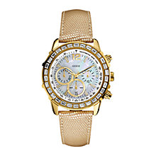 Buy Guess W0017L2 Lady B Women's Chronograph Leather Strap Watch, Cream Online at johnlewis.com