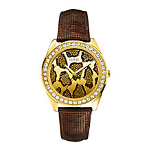 Buy Guess W0056L2 Women's Diamond Set Bezel Animal Print Dial Leather Strap Watch, Brown Online at johnlewis.com