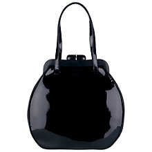 Buy Lulu Guinness Patent Pollyanna Shoulder Handbag, Black Online at johnlewis.com