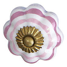 Buy Bombay Duck Ceramic Flower Stripe Cupboard Knob, Dia.45mm Online at johnlewis.com