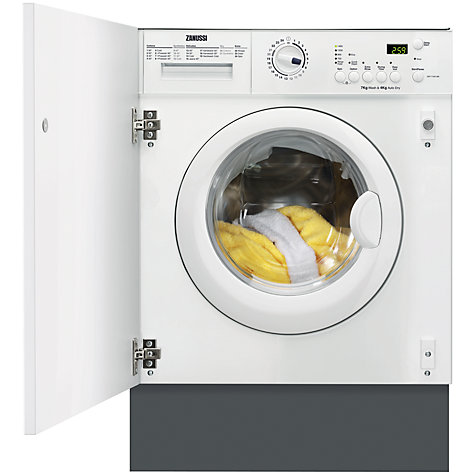 Buy Zanussi ZWT71401WA Integrated Washer Dryer, 7kg Wash/4kg Dry Load, B Energy Rating, 1400rpm Spin Online at johnlewis.com