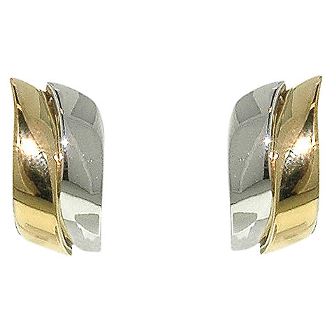 Buy Finesse Two-Tone Wave Clip Earrings, Gold/Rhodium Online at johnlewis.com