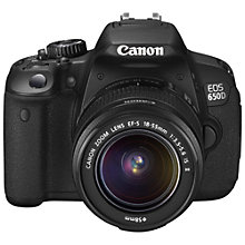 "Buy Canon EOS 650D Digital SLR Camera with 18-55mm IS Lens, HD 1080p, 18MP, 3"" LCD Screen Online at johnlewis.com"