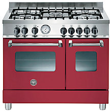 Buy Bertazzoni AD905MFEVIE Dual Fuel Range Cooker, Burgundy Online at johnlewis.com