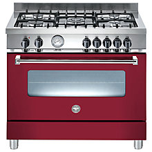Buy Bertazzoni A905MFEVIE Dual Fuel Range Cooker, Burgundy Online at johnlewis.com