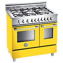 Buy Bertazzoni W906GEVGI Dual Fuel Range Cooker, Yellow Online at johnlewis.com
