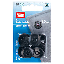Buy Prym Jacket Buttons, 20mm, Pack of 10, Black Online at johnlewis.com