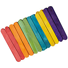Buy John Lewis Jumbo Multicoloured Wooden Craft Sticks, Pack of 80 Online at johnlewis.com