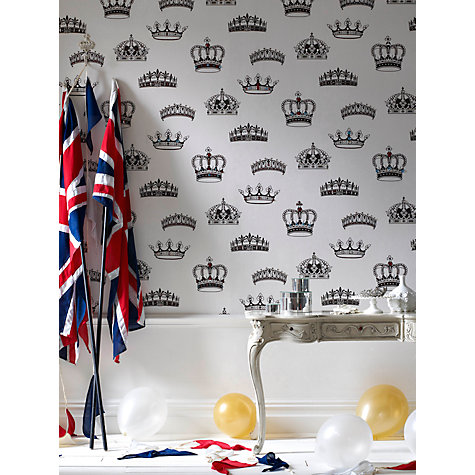 Buy Graham & Brown Crowns & Coronets Wallpaper, Black/White Online at johnlewis.com