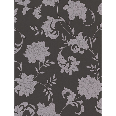 Buy Graham & Brown Silk Silver Effect Wallpaper, Charcoal Online at johnlewis.com