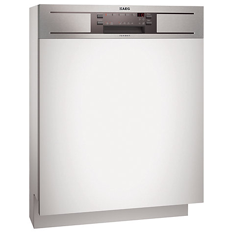 Buy AEG F65040iM0P Semi-Integrated Dishwasher, Stainless Steel Online at johnlewis.com