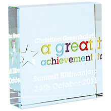 Buy Spaceform Great Achievement Personalised Paperweight Online at johnlewis.com