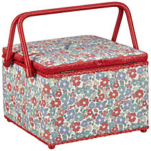 Buy John Lewis Sugar Almond Sewing Basket, Large Twin Lid Online at johnlewis.com