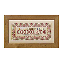 Buy The Historical Sampler Company Cross-Stitch Kit, Will Work For Chocolate Online at johnlewis.com