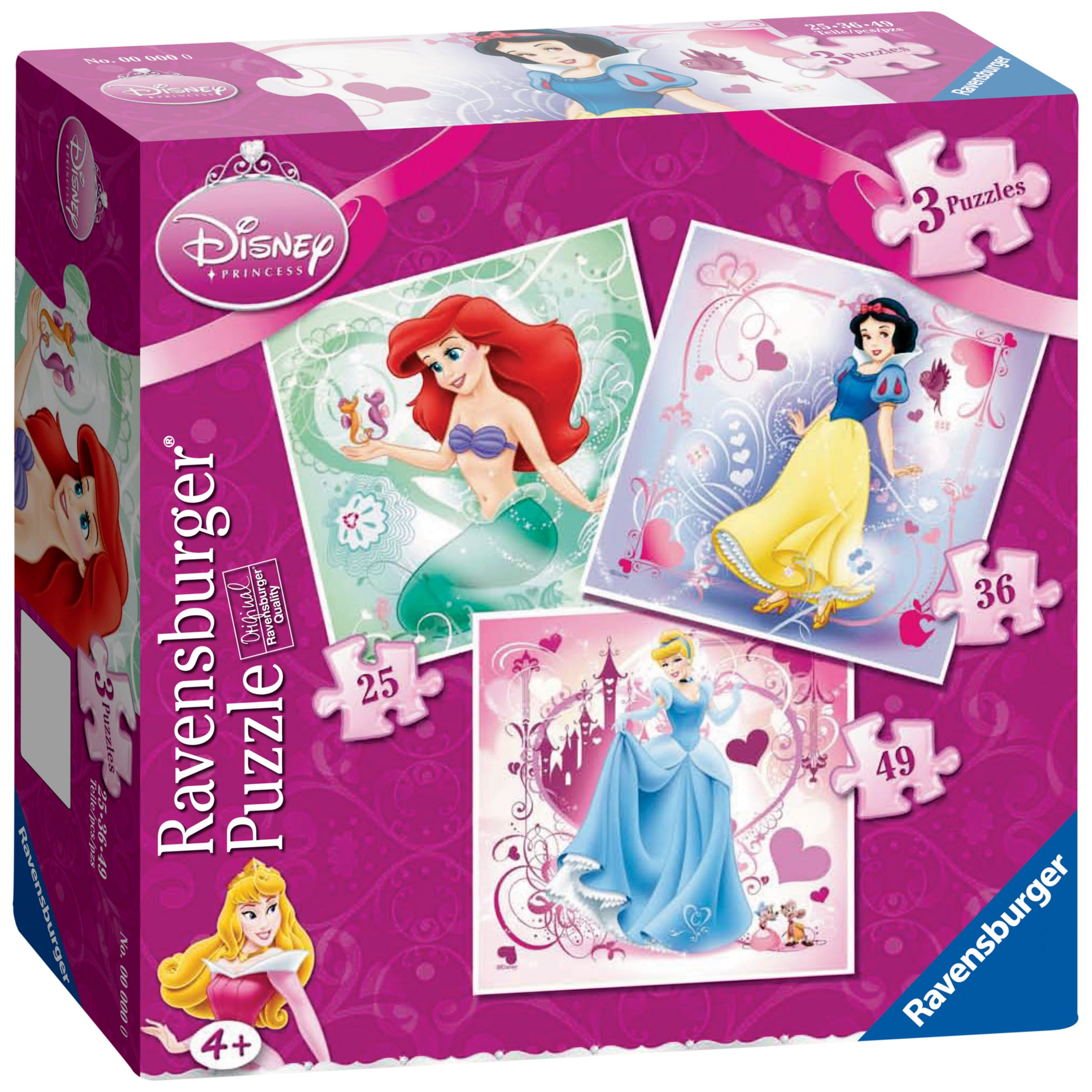 Disney Princess 3 In A Box Jigsaw Puzzles