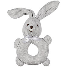 Buy John Lewis Cable Knit Rabbit Rattle, Grey Online at johnlewis.com
