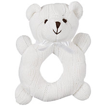 Buy John Lewis Cable Knit Bear Rattle, White Online at johnlewis.com