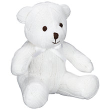 Buy John Lewis Cable Knit Bear, White Online at johnlewis.com