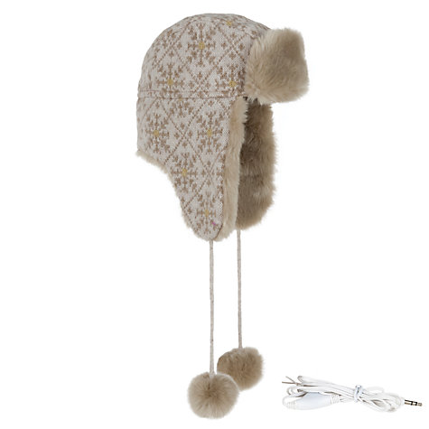 Buy John Lewis Wool Snowflake Integrated Headphone Trapper Hat Online at johnlewis.com