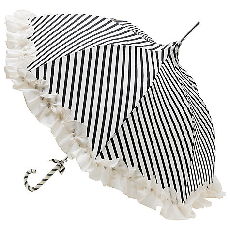 Buy Lisbeth Dahl Ruffle Umbrella, Black/Cream Online at johnlewis.com