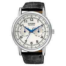 Buy Citizen AO9000-06B Men's Eco-Drive Cream Dial Leather Strap Watch, Black Online at johnlewis.com