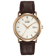 Buy Citizen BM7193-07B Men's Eco-Drive Leather Strap Watch, Rose Gold/Brown Online at johnlewis.com