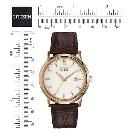 Buy Citizen BM7193-07B Men's Eco-Drive Leather Strap Watch, Brown/White Online at johnlewis.com