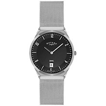 Buy Rotary GB02609/04 Men's Black Dial Mesh Bracelet Watch, Black/Silver Online at johnlewis.com