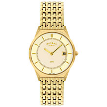 Buy Rotary GB08002/03 Men's Ultra Slim Gold PVD Plated Bracelet Watch Online at johnlewis.com