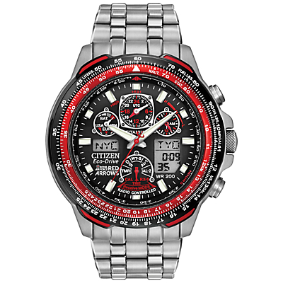 Citizen Eco-Drive JY0110-55E Men's Red Arrows Skyhawk AT Chronograph Bracelet Watch, Silver/Red