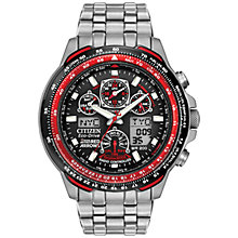 Buy Citizen Eco-Drive JY0110-55E Men's Red Arrows Skyhawk AT Chronograph Bracelet Watch, Silver/Red Online at johnlewis.com