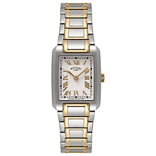 Buy Rotary LB02606/40 Women's Two-Tone Rectangle Dial Bracelet Watch, Gold/Silver Online at johnlewis.com